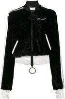 Off-White Cropped Velvet Bomber Jacket