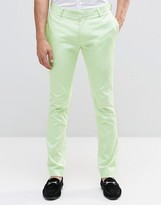 Asos Super Skinny Pant In Mint Cotton Sateen