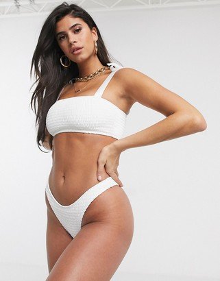 Swim Society Palma high waist bikini bottom in white