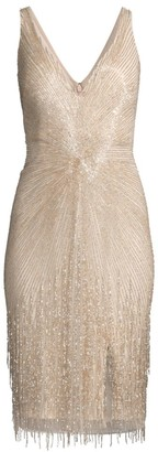 Aidan Mattox V-Neck Beaded Cocktail Dress
