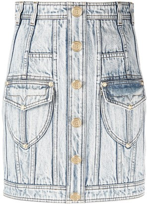Balmain High-Waisted Denim Skirt