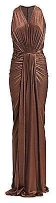 Rick Owens Lilies Women's Metallic Bodycon Draped Gown