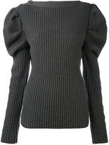 Nina Ricci balloon sleeves ribbed detail top - women - Lambs Wool - S