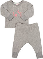 "Bonpoint Love"" Sweatshirt & Pants Set-GREY"