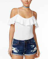 American Rag Juniors' Off-The-Shoulder Ruffled Bodysuit, Only at Macy's