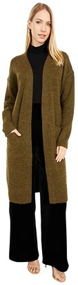 J.Crew Open Long Cardigan (Heather Dark Olive) Women's Clothing
