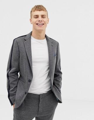 Burton Menswear skinny fit suit jacket with side stripe in grey