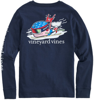 Vineyard Vines Boys' Ski Race Whale Long-Sleeve Pocket T-Shirt
