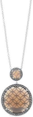 Lavish by TJM Sterling Silver Gray Agate Pendant Necklace with Swarovski Marcasite