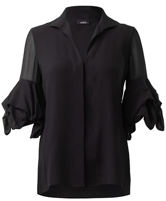 Akris Draped-Sleeve Silk Blouse