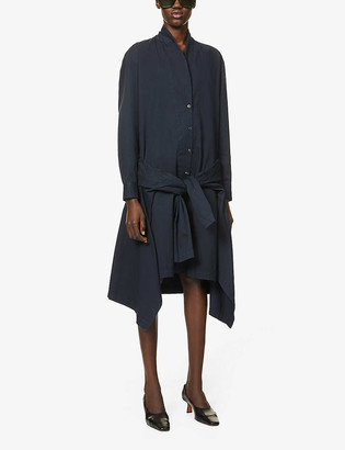 Dries Van Noten Tie cotton-twill midi shirt dress