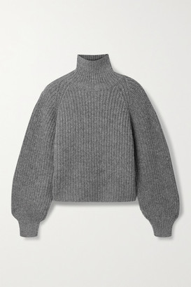 Anine Bing Ainsley Ribbed-knit Turtleneck Sweater - Gray