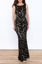 Basix II Black Embellished Sleeveless Gown