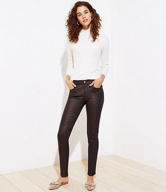 LOFT Shimmer Slim Pocket Skinny Jeans in Black