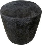 One Kings Lane Vintage Black Hair-on Hide Ottoman