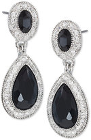 Carolee Earrings, Silver-Tone Pave Glass Stone Double-Drop Earrings