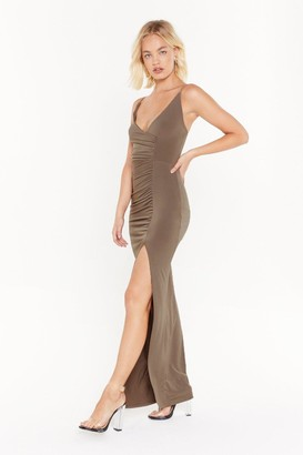 Nasty Gal Womens If Slit Ain't Broke Slinky Maxi Dress - Olive