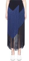 Stella McCartney 'Veronica' colourblock layered fringe cady midi skirt