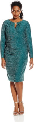 Marina Women's Plus-Size Long Sleeve Dress with Center Front and Back Keyhole Hardware with Shirring at Sides