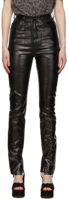 Saint Laurent Black Denim Shiny Vinyl Trousers