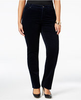 Charter Club Plus Size Houndstooth Tummy-Control Corduroy Pants, Only at Macy's