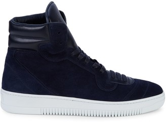 John Galliano Leather-Trimmed High-Top Suede Sneakers