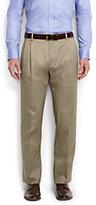 Classic Men's Big & Tall Comfort Waist Pleat Twill No Iron Dress Trousers-Dark Asphalt Heather