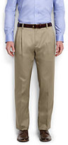 Lands' End Men's Long Comfort Waist Pleat Twill No Iron Dress Trousers-French Walnut Heather