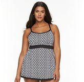 Apt. 9 Plus Size Bust Enhancer Geometric Swimdress