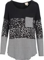 Tru Self Women's Tunics Grey - Gray Leopard & Stripe Color Block Pocket-Front Tunic - Women