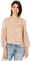 Amaya American Rose Long Sleeve Floral Top with Smocked Cuffs (Taupe) Women's Clothing