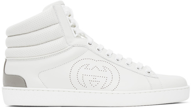 Gucci White Ace High-Top Sneakers