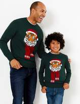 M&S CollectionMarks and Spencer Tiger With Hat Design Crew Neck Jumper