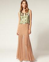 ASOS SALON Sheer And Solid Godet Silk Maxi Skirt