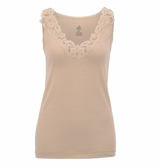 Hi Fashionz Ladies Plain Cotton Wide Strap Vest Top Lace Trim Neck Design Cami Tank Womens Camisole #(SPN Nude Vest #LDSBU1010COLOUR