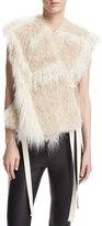 Helmut Lang Two-Tone Faux-Fur Vest, Cream