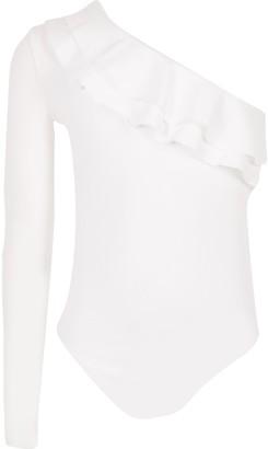 River Island Girls White one shoulder frill bodysuit
