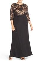 Tadashi Shoji Plus Size Women's Lace Tulle & Crepe A-Line Gown