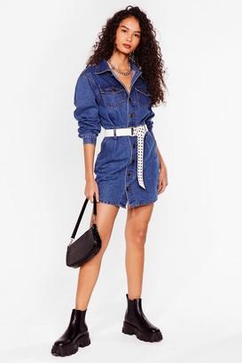 Nasty Gal Womens Button to a Winner Denim Mini Dress - Blue