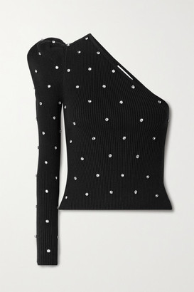 Self-Portrait One-sleeve Crystal-embellished Ribbed Cotton-blend Top - Black