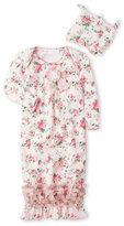 Laura Ashley Newborn Girls) Pink Floral Nightgown & Beanie Set