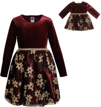 Dollie & Me Girls 4-10 Velvet Bodice/Mesh Skirt Dress with Matching Doll Dress