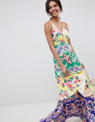 Asos DESIGN tiered printed maxi dress