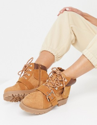 ASOS DESIGN Angelo lace-up hiker boots in sand