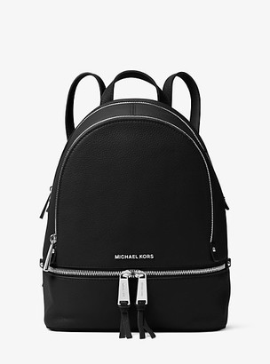 MICHAEL Michael Kors MK Rhea Medium Leather Backpack - Black - Michael Kors