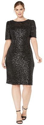 Adrianna Papell Plus Size Sequin Elbow Sleeve Cocktail Dress (Black) Women's Dress