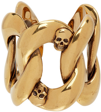 Alexander McQueen Gold Chain and Skull Ring