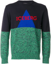 Iceberg colour-block logo patch sweatshirt