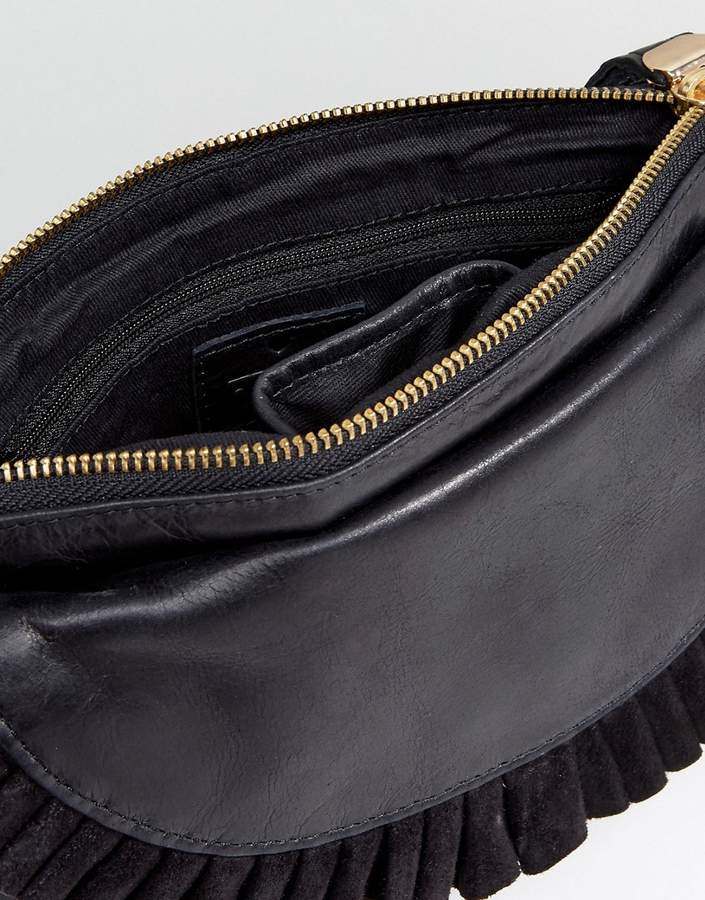 Oasis Ruffle Front Leather Clutch