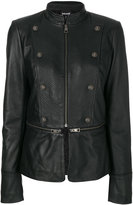 Just Cavalli zip and button detailed leather jacket